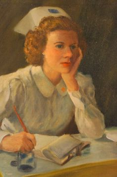 Vintage Original Oil Painting of Nurse in Uniform