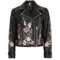 Topshop Embroidered Leather Jacket (22.225 RUB) ❤ liked on Polyvore featuring outerwear, jackets, biker jacket, zip up jackets, genuine leather jackets, embroidered leather jacket and topshop jackets