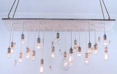 Reclaimed barnwood lighting with quartz crystals por urbanchandy, $990.00