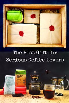 Coffee lover's dream gift box!  Organic & high-quality coffee kit. Hario's coffee grinder, dripper pot, heatproof mug, Blanxart organic chocolate, Blanchard organic coffee beans. Great coffee gift ideas for coffee lovers! Morning Barista Gift Box | Beets & Apples