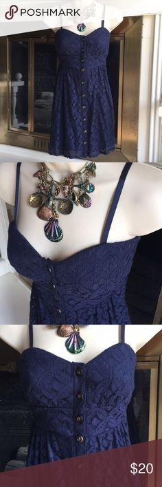 NWT Navy blue sundress lace button front padded Sm Super pretty floral lace sundress button front fully lined padded bus line adjustable spaghetti straps length is 30 inches waist is 29 inches. New with tags attached perfect condition. Size small  Bundle and Save 20% off 2 or more items Trixxi Dresses Mini