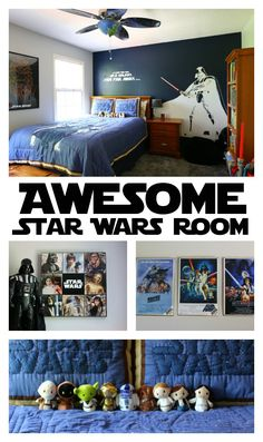 This Star Wars room is every boy's dream - complete with lightsabers, big graphics and cozy bedding.
