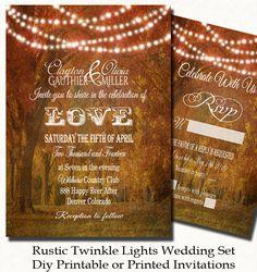 Rustic Twinkle Lights Wedding Invitation Set | Rustic Wedding | Wedding Invitations | Printed Invites or Digital Printable with FREE SHIP