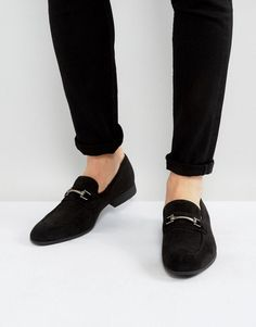 #ASOS - #ASOS ASOS Loafers In Black Faux Suede With Snaffle Detail - Gray - AdoreWe.com