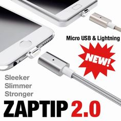 Magnetic Super Charge Connector - Lightning or Micro USB - Sync & Charge All Devices/Accessories | Check out 'ZAPTIP: The World's First Magnetic Super Charger' on Indiegogo.