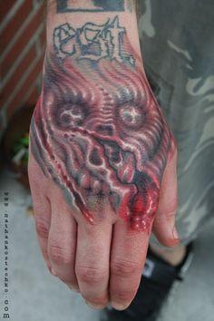 Skull And Ripped Flesh Evil Tattoos, Macabre, Tattoo Designs, Skull, Tattoo Art, Tattooed Guys, Tattoo Patterns, Design Tattoos, Skulls
