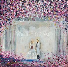 There is a simplicity here with all the white, which I set out to create. Then a burst of color with the floral arrangement which makes the painting sing! Congratulations, Happy anniversary, Mazal tov!