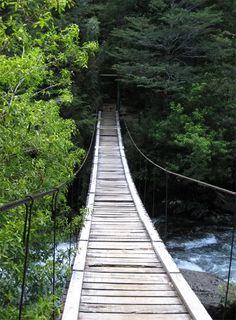 Puente colgante, en Bariloche, Argentina...