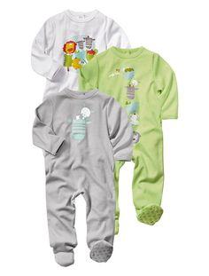21€ Lote de 3 pijamas de algodón variados bebé mixto BLANCO CLARO LISO