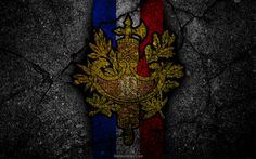 Download wallpapers coat of arms of France, French coat of arms, grunge, flag of France, art, French flag, symbolism of France