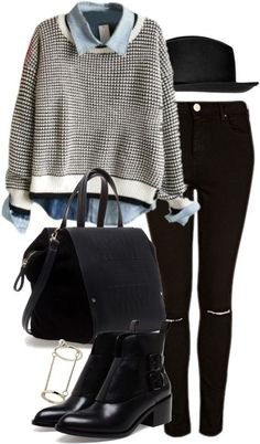 White jumper / Topshop ripped skinny jeans, $41 / Alexander Wang leather ankle boots, $655 / Zara bag / Topshop midi ring / Topshop black fe...