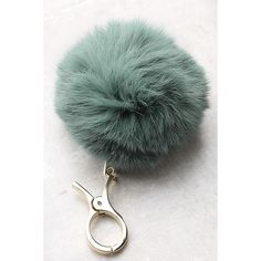 Pom and Circumstance Sage Green Fur Pompom Key Chain ($15) ❤ liked on Polyvore featuring accessories, green, fur pom pom key chain, ring key chain, key chain rings, fob key chain and fur key chain