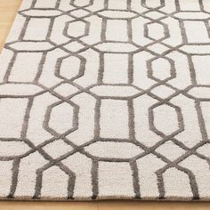 Plush Wool and Art Silk Modern Lattice Rug: Grey or Sage Gre -Possibly Dining Room or Great Room