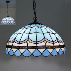 165.00$ Buy here - http://ali1sy.worldwells.pw/go.php?t=1454120826 - Tiffany Stained Glass Suspension Light Vintage Style Litchen Bar restaurant Pendant Lamp DIA 40 CM H 100 CM