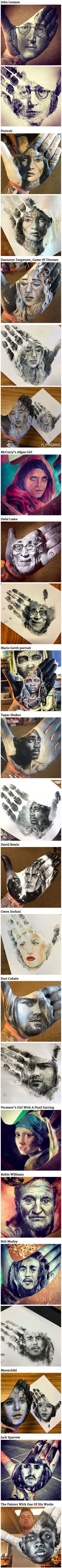 "Instead of painting directly on paper, first-grade school teacher Russel Powell paints realistic portraits directly on his hand, then using it as a stamp. The San Jose-based teacher-artist paints quickly enough that the paint doesn't dry, letting his palm-lines become part of the piece. Powell calls this process ""hand-stamping,"" and even incorporates similar art projects into his classes."