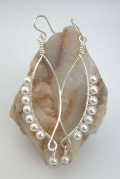 Wire-Wrapped Pearl Earrings - Crystal Pearl Earrings - Sterling Silver Earrings…