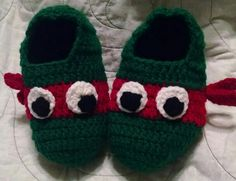 Red Ninja Turtle Slippers - Child Size