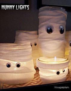 Hi Sugarplum   Easy Mummy Lights using supplies from the Dollar Store