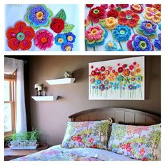 Lovely Crochet Flowers on Canvas