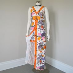 Vintage 1970s Bright Hot Pants with Maxi Tunic Top Set Outfit  Dress M from The Vintage Merchant at rubylane.com