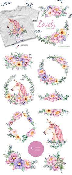 Flores encantadoras y unicornio. Ramos de flores cuadros