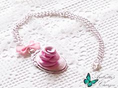 Necklace with pendant cameo retro style with rose made in polymer clay