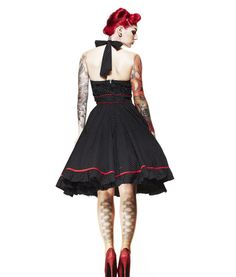 Hell Bunny 50s Vanity Polka Dot Dress In Black | Tiger Milly