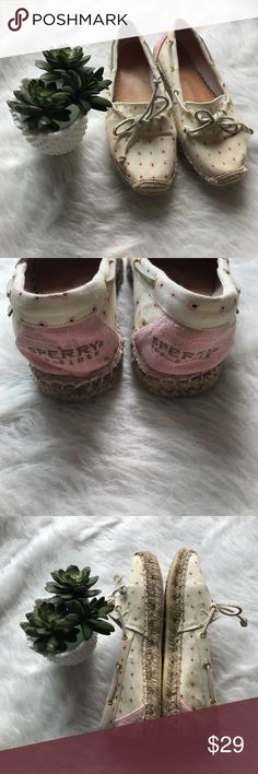 Sperry Top Sider Canvas floral & pink espadrilles Sperry Top Sider Canvas floral & pink espadrilles. Cute espadrilles with leather tie and gold hardware. There are water damage areas as shown, please review pictures. When wearing it is difficult to see. Received many compliments as these are more rare style. Perfect for spring and summer for vacation time. I love reasonable offers, bundle and save. I ship same or next day from Ohio 💌💋 Sperry Shoes Espadrilles