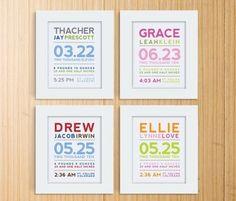 Modern Typography Birth Print by Mosie Posies - modern - nursery decor - Etsy