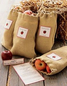 The Perfect Palette: {Apple Orchard 'I Do's'}: Apple, Burlap, Wheat & White Apple Wedding Favors, Wedding Foods, Fruit Wedding, Party Favors, Fall Harvest Party, Burlap Bags, Apple Orchard, Desert Recipes, Fall Wedding