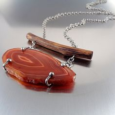 Agate Necklace - Year Rings, Brown agate slice handmade necklace with wood