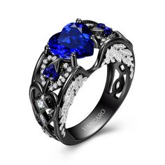 Heart Cut Lab-created Blue Sapphire Black Wedding Ring for Women with Angel Wing Inspired