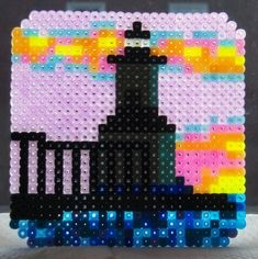 Perler bead projects - Michigan City East Light lighthouse