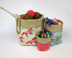 DIY Fabric Storage Bins | Keep all of your sewing gear organized with these easy fabric baskets!