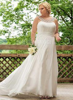 Col rond robe de mariée grande taille chiffon ruche applique [#ROBE209993] - robedumariage.com