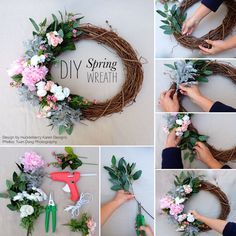 """Step 1: Gather all materials including an 18"""" grapevine wreath, the flowers you would like to use and clippers. Glue gun is optional.Step 2: Cut all the greener"""