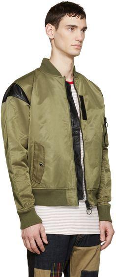 Mostly Heard Rarely Seen Green Nylon Parachute Bomber Jacket
