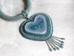 Teal Bead Embroidered Glass Heart Necklace by HeriniasJewelryChest, $75.00