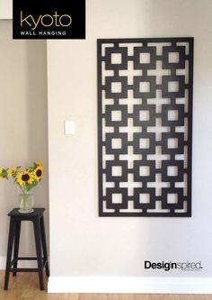 KYOTO Pattern Timber Wall Hanging Art Screen CNC Cut - BLACK