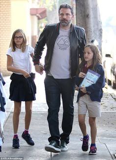 Bat dad: Ben Affleck was on full-on family mode on Thursday as he picked his daughters up from school Celebrity Stars, Celebrity Couples, Celebrity Pictures, Celebrity Children, Famous Celebrities, Celebs, Ben And Jennifer, Jennifer Garner Ben Affleck, Star Family