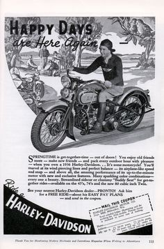 Gentlemen, pack every outdoor hour with pleasure when you own a Harley-Davidson with sparkling color combinations and a Buddy Seat!  (1936)