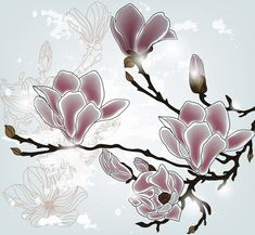 magnolia branch Wall Mural ✓ Easy Installation ✓ 365 Days to Return ✓ Browse other patterns from this collection! Flower Design Vector, Vector Flowers, Flower Designs, Stained Glass Patterns, Mosaic Patterns, Craft Patterns, Magnolia Branch, Magnolia Flower, Japanese Magnolia