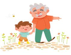 Walking with Grandfather. (Artist: Maëlle C.)