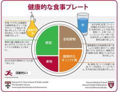 """""""健康的でバランスのとれた食事をするための手引です。コピーを冷蔵庫に貼って、健康的でバランスの良い食事をすることを毎日思い起こしてください。"""" 健康的な食事プレート(Japanese) http://www.hsph.harvard.edu/nutritionsource/healthy-eating-plate/translations/japanese/"""