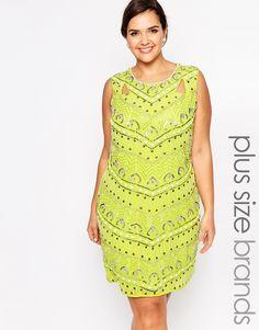 Lovedrobe Beaded Shift Dress - Lime $125.00 AT vintagedancer.com
