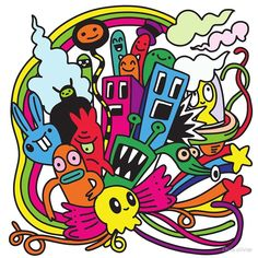 'hipster hand drawn crazy doodle monster city' by Chris olivier Doodle Monster, City Drawing, Drawing Style, Framed Prints, Canvas Prints, Art Prints, Wall Tapestry, Decorative Throw Pillows, Art Boards