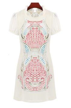 Pink Short Sleeve Ruffle Totem Pattern Print Dress GBP£20.69