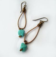 Upcycled Guitar String Earrings Recycled Earrings Brass Earrings Turquoise Earrings Bead Earrings Gypsy Earrings Boho - READY TO SHIP