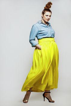 Plus Size Fashion - JIBRI High Waist Belted Maxi Skirt