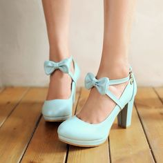 Women Mary Janes High Heels Platform Bowknot Pumps Fashion Shoes Pumps Plus Size